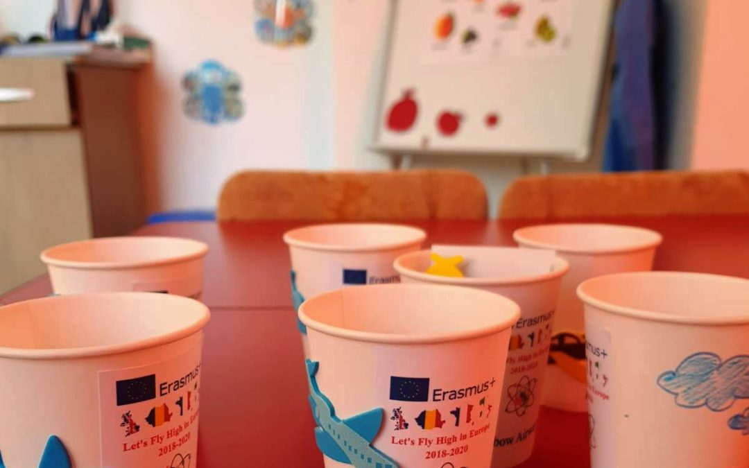 Children decorated eco glasses for Rainbow airways.